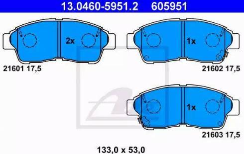 ATE 13.0460-5951.2 - Zestaw klocków hamulcowych, hamulce tarczowe intermotor-polska.com