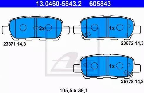 ATE 13.0460-5843.2 - Zestaw klocków hamulcowych, hamulce tarczowe intermotor-polska.com