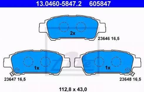 ATE 13.0460-5847.2 - Zestaw klocków hamulcowych, hamulce tarczowe intermotor-polska.com