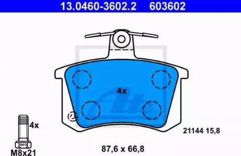 ATE 13.0460-3602.2 - Zestaw klocków hamulcowych, hamulce tarczowe intermotor-polska.com
