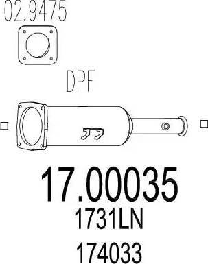MTS 17.00035 - Filtr sadzy / filtr cząstek stałych, układ wydechowy intermotor-polska.com